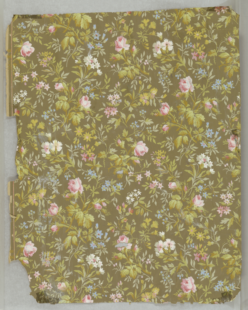 All-over floral pattern, with pink, blue and white flowers on olive-green ground.