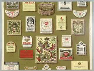 """Fragment of a pattern of wine and liquor labels in brilliant colors on green ground. On margin: """"Schumacher Hand Print"""". On reverse is printed manufacturer's name and identification of paper."""