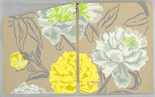 Flowers printed in white, two shades of grey, and bright green or in yellow and light browns with stems and leaves marked out in dark grey; ground is very light brown.