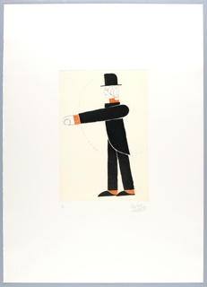 Vertical rectangle. Mechanical man in black top hat and suit viewed from the side, with orange collar, cuffs and socks, striding left, his left arm extended forward.  A dotted semicircle suggests path of moving arm.