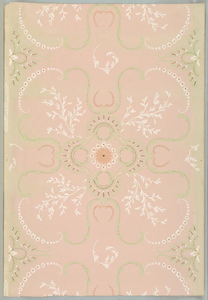Printed in green, deep pink, white, metallic gold on pink