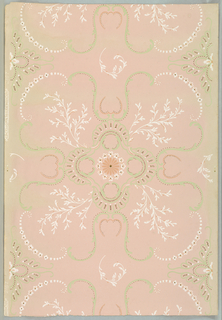 Printed in green, deep pink, white, metallic gold on pink