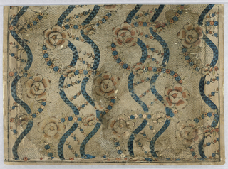 Rectangular pieced portion of a sheet, with paired checkered serpentine bands, colored blue, entwined by serpentine bands of small flowers periodically set with larger rose-like flowers, colored pink and blue. Field white, with groundwork of black broken lines. White margin on one long and two short sides.