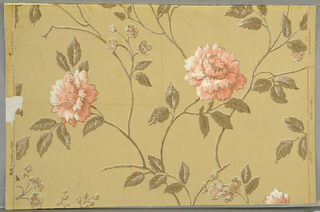 "Design of flowers and leaves on branching stems, printed in gray, white and pink on putty-color ground. Marked on back: ""Thomas Strahan Co. 417 Fifth Avenue New York City 3.00""."