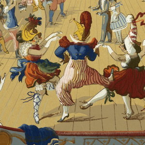 Repeating motif of a masquerade ball at an Opera House. Figures in fantastic costumes dance and cavort. An orchestra plays up on center stage. Printed in twenty colors on neutral ground, drop repeat.