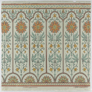 Narrow bands of geometric ornament across top and bottom. Long narrow panels, trefoil-headed, set with conventionalized axial passion-flower, above small tangent semi-circles enclosing conventional half- water lilies. Paper embossed with pebbled figure. Blue, tans and red-violet on embossed paper.