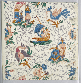 Vertical rectangle. Chinoiserie design of eight motifs, three including human figures, two with a sort of phoenix, and three with flowers; white field covered with slender blue-gray foliage scrolls.  Printed in reds, blues, greens, and neutral oranges on white ground. Samll sections of a like paper have been cut and pasted on the front of this piece to fill losses.  Mounted on a gray paper.
