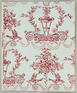 a) Arabesque design printed in red and pink on light blue ground; drop repeating design of tripod and bouquet of flowers, with foliage scrolls and addorsed birds; copied from 1931-45-30, a paper of about 1780; b) Diagonally-running lattice design overlaid with alternating square and oblong octagons; the square octagons enclose a chair, or a ewer with mug; the oblong octagons enclose rose sprays. Printed in colors on pale blue ground. Reproduction of 1931-45-19.