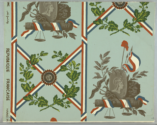 Drop repeating design seperated by vertical tricolor band. Tricolor rosette with oak leaves alternates vertically with trophy containing motifs such as liberty cap on pole, shield with head of female figure of Liberty, fasces bound with tricolor bands and scales of Justice.