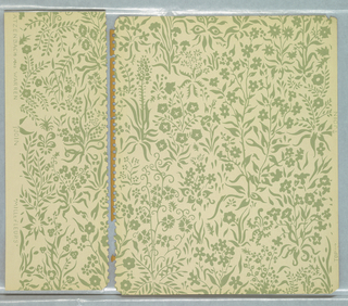 Page from sample book containing forty contemporary designs by leading designers. All-over pattern of delicate floral motifs, printed in green on off-white ground.