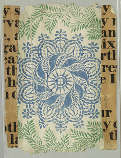 Blue circular motif composed of disk with four white circles enclosed, surrounded by rayed circle, serpentine-rayed circle and outer band of foliated scallops. To right and left, ascending serpentine foliage in green. Alternating blue motif of foliate cross.