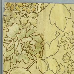 Sidewall paper in the Aesthetic style, with all-over patterning of leaves and flowers, printed in gold and off-white, with heavy outlines, on off-white ground. The border is a stylized floral design, possibly printed in an Indian style, printed in browns on off-white.