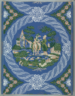 Copied from bandbox similar to C.U.M. 1913-12-8-a,b. Medallion scene of a woman on horse talking to a man on foot, within a framework of twisted foliage. Printed in pink, green and white on a blue ground. Straight across match.