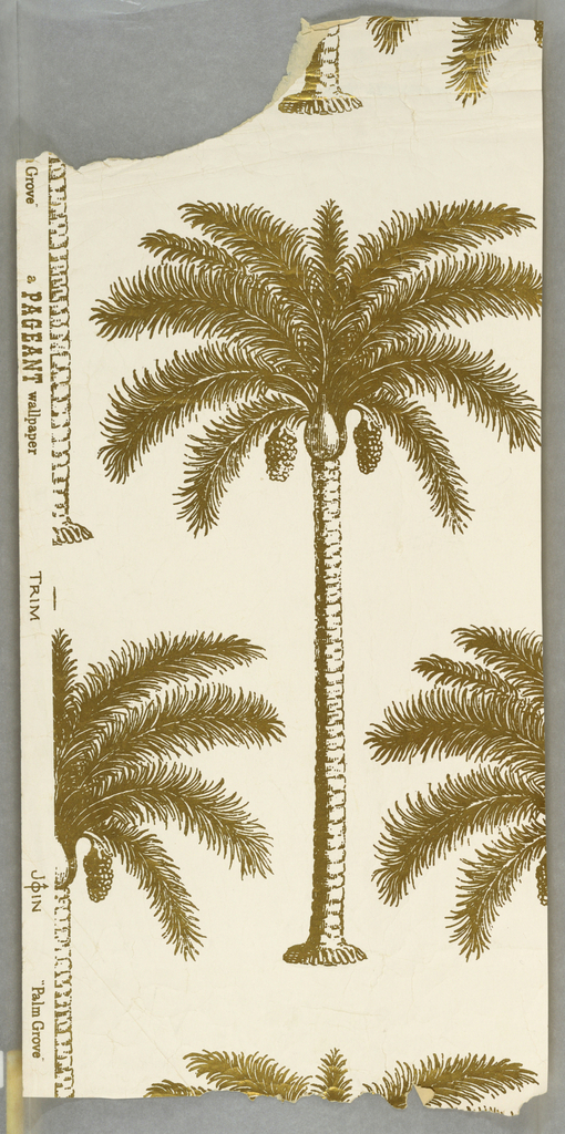 "Diagonal pattern of palm trees printed in gold on white. On margin: ""A Pageant Wallpaper, ""Palm Grove"". On margin, creased and torn at edges."