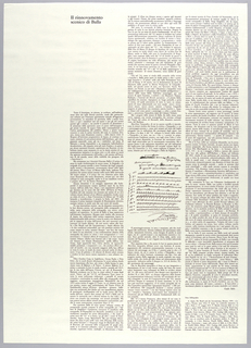 Vertical rectangle. Printed black text in Italian printed in three columns, flush right, on white ground.  The essay by Guido Ballo discusses the futurist movement generally and places Balla in the context of futurism and futurist set design. The essay includes a reproduction of the written text by Balla that appears on portfolio cover (1999-6-5-1). The text is followed by author's printed signature, beneath which are bibliographic references.