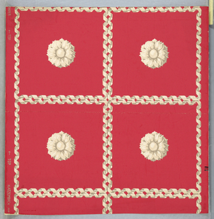 Design of squares formed by two ribbons, each twisted around a rod; each square enclosed one rosette. Printed in white, cream and tan on bright pink ground.