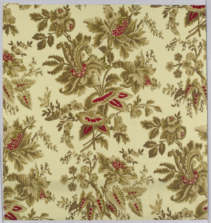 Neo-Rococo pattern with two motifs of flower bunches repeated one above the other and in off-set columns; highly-detailed brown linework and shading reminiscent of printed textiles; highlighting in dark red on some of the flowers and leaves; cream ground.