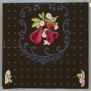 Design of fruit (pears, cherries and strawberies) with flowers and leaves surrounded by scrolls on a ground covered with dots. Printed in green, pink, red and blue on dark gray ground.