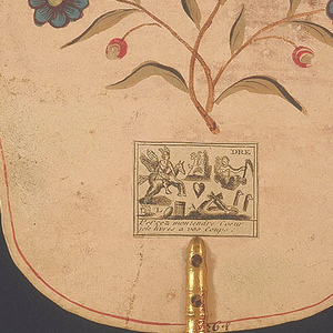 Obverse: a fanciful Chinoiserie river scene with three musicians perched on different architectural follies, enclosed by c-scroll border. Reverse: painted flower and three printed verses pasted on to back. Turned and gilded wood handle.