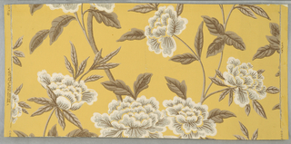 "Design of branching stems and large open flowers (peonies) and leaves. Printed in brown, gray and white on yellow ground. Marked on face: ""Strahan - Made in U.S.A."""