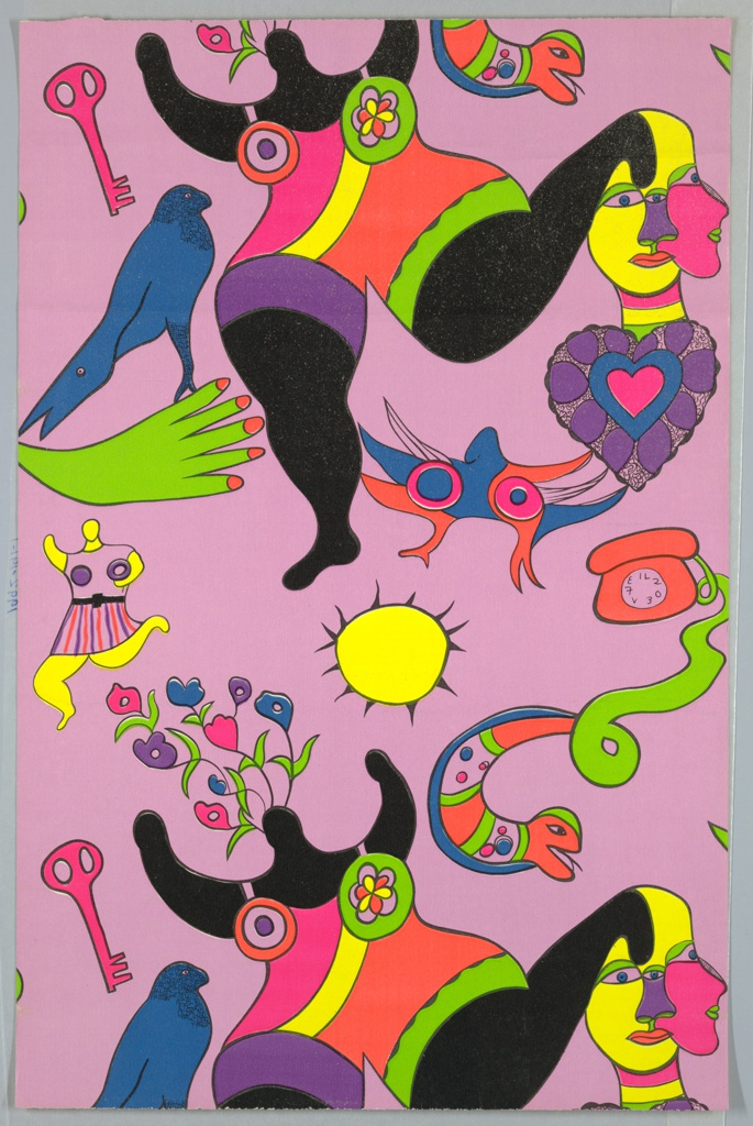 Children's wallpaper with a large-scale Nana figure, snake, sun and telephone illustrated in colors on a pink ground.