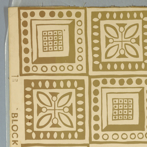 A design composed of squares, five squares to a width. There are two basic designs, a square containing a stylized floral motif and another, more geometrical in appearance, with circles and checkerboard design. These designs alternate. Printed in brown on cream ground.
