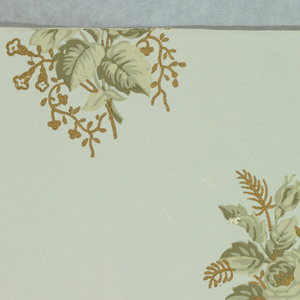 Alternating floral sprig motifs printed in shades of green with metallic gold highlights, printed on a very pale green ground, embossed with a very small diaper pattern.