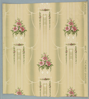 Floral striped , pink flowers with green foliage on beige ground with gray stripes, pearl swags, all-over printed in white dots