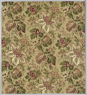 Dense Neo-Rococo pattern consisting of a motif of fanciful flowers and grape-like bunches of fruit growing on long snake-like stem repeated vertically in off-set columns; dark color scheme of burgundy, greens, cream, muted pink, and white-dot highlighting on tan ground.