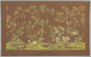 Miniature of scenic wallpaper, Georgian Floral. Flowering trees and shrubs are ranged along the bank of a brook. Greens, browns, oranges, and white. Marginal indications show that this paper is composed of four panels. Panels 4 and 1 can be matched to repeat the design.