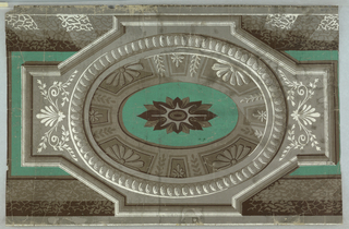 Grisaille pattern with solid bright green background. Central elipse with shaded interior simulating miniature dome with coffered ceiling decorated with formalized floral ornament. Central bright green elipse with formalized flower. This elipse set in stepped octagon decorated with classic revival ornament, palmettes, etc. Top and bottom: banding in shaded grisaille of seaweed pattern.