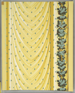 "a) Green foliage on a vertical stem forms the motif from which a yellow drapery or curtain is hung. Patterned with light green oval dots in a diagonal pattern. On margin:Made in U.S.A., Harriet C. Bryan for Hobe Erwin Editions, Run 4, 504-5; b) Frieze and dado printed in alternating horizontal rows on length. Frieze consists of foliate arches in green and yellow with brown, white and yellow fringed curtain draped below a cluster of flowers. Above, a brown and white fringe draped above yellow and green foliage, resting on tongue and dart border. On margin: ""Made in U.S.A., 505-5, Run 4, Hobe Erwin Editions."" One margin."
