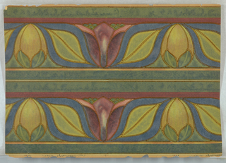"Two sections of border printed on one piece. Stylized in wide brown outlines, over-sized tulips, leaves, birds in shades of blue, rose, green, yellow and chartreuse. In art nouveau style. Printed in margin: ""R. 11. Adams, Desy & London""."