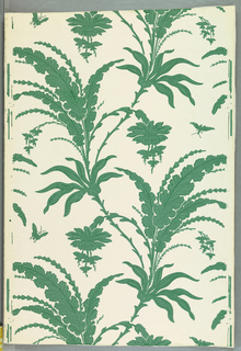 Large scale serpentine ascending design of flowers and leaves and insects. Two tones of green with pin dot enrichment. White ground. Straight across match. Printed from woodblocks of the 1880s probably copied after the earlier design.