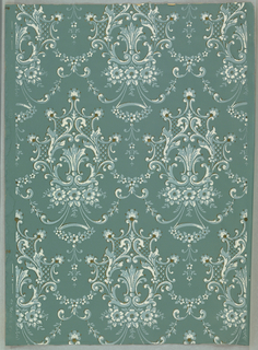 Light blue, white and metallic gold floral with scrollwork on gray-blue ground.