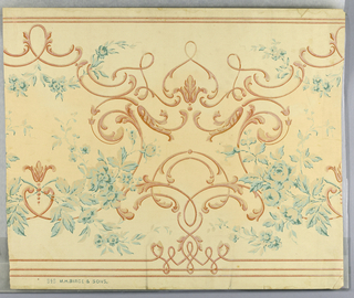 "Delicate sprays of roses and leaves in light blue partly outlined in dark blue, highlights in silver. Between floral sprays are conventionalized scrolls in shaded cinnamon color. Background of frieze in shaded ivory. Narrow cinnamon colored lines top and bottom. ""No. 848, M.H. Birge & Sons"" printed in selvedge."