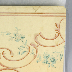 """Delicate sprays of roses and leaves in light blue partly outlined in dark blue, highlights in silver. Between floral sprays are conventionalized scrolls in shaded cinnamon color. Background of frieze in shaded ivory. Narrow cinnamon colored lines top and bottom. """"No. 848, M.H. Birge & Sons"""" printed in selvedge."""