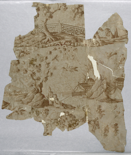 Irregular pieced portion showing Chinoiserie design: fisherman on shore, others in boat, rocky island and balustraded shore. Printed in white and browns on gray ground.