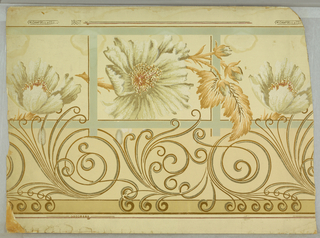 Bronze scroll and large flower design in browns and olives on cream waffle paper, tan and turquoise stripes: Mica finish: frieze. Made by Wm. Campbelland Co., No. 1857.