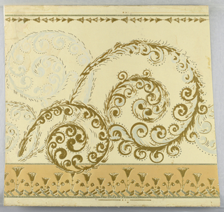 "Entire field pebble embossed while the design is again embossed over the pebble field which is old ivory. Tan border at bottom with a stiff formal thistle design. Remainder of border with ivory field has a scroll design in gold with gray-blue shading. A pale scroll in all gray-blue appears in background. At top is a narrow horizontal thistle border. Top edge is marked: ""Campbell & Co., N.J. - 1996""."