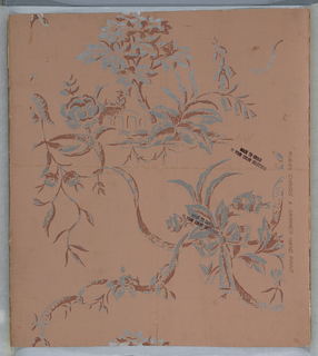 Design of man with umbrella crossing a bridge, trees, flowers, and ribbons. Printed in dull pink and silver on pale pink ground.