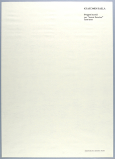 Vertical rectangle. Title page consisting of black text on white ground, printed at upper right and lower right.