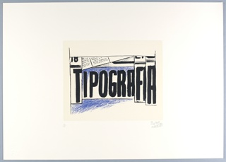 "Horizontal rectangle. Set design composed of word ""Tipografia"" in tall black letters (the ""T"" and ""FIA"" larger than other letters and inscribed in vertical white blocks), as if painted with wide brush.   Blue shading above and below middle letters.  Suggestions of architecture across upper edge."