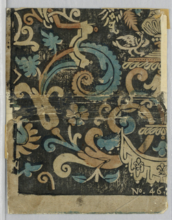 Vertical rectangle. Lower left corner of a design similar to the type used for decorative leather wallhangings, with acanthus rinceau, portion of a vase, and half of a drapery swag, all in reserve against a black field. At bottom, No. 46. White margin on left side and bottom.