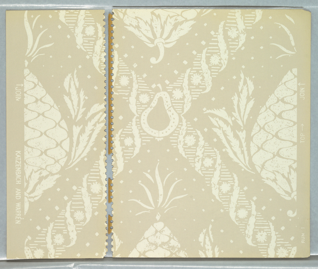 Faux damask or velvet pattern; upside-down stylized pineapples placed in the gaps of a diamond lattice pattern formed of horizontal hatching and alternating feathery leaves and sunburst motifs; stylized pear motifs at the intersections of the lattice; motifs have stencil effect; color scheme of pale cream on tan.