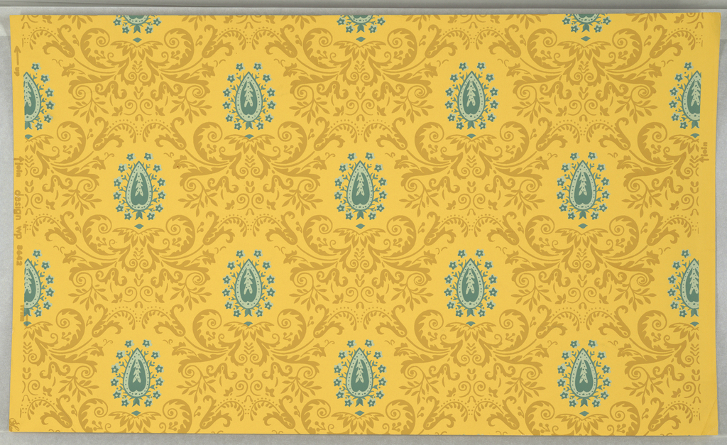 On golden yellow ground, vertically symmetrical repeating pattern of stylized flat light brown foliage and flower forms enframing leaf-shaped figures in two tones of grayed turquoise, edged with tiny flowers. Printed in margin: design wp 8642.