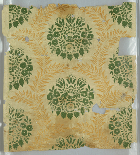 Green conventionalized floral medallions within mustard sprays of foliage.