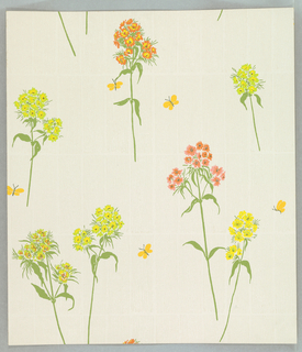 Over white ground with embossed imitation of fabric weave, fill of vertical rectangles of beige woodgrain. Over this, scattered stalks of Sweet William - green foliage with flowers in salmon, yellow, pink, chartreuse. Scattered small yellow butterflies.