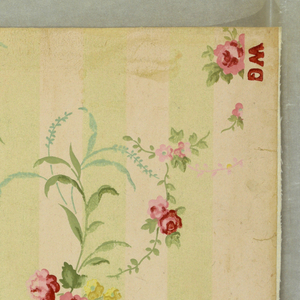 """Sprays of small pink roses and yellow forget-me-nots with green leaves. At end of sprays are grasses in blue-green frosted work. Sprays have a scattered informal arrangement. Alternating green frosted work and plain ivory stripes form the field. On margin is printed: """"Benton, Heath & Co., Hoboken, N.J. 1812 WC""""."""