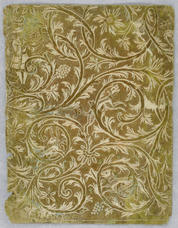 On stippled gold ground, embossed white pattern; entwining scrolls, foliage, with dogs, man blowing horn are worked in.